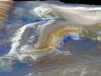 """Auf dem Bild ist ausgedehntes Kieserit, ein hydratisiertes Magnesium-Sulfat-Salz, zu sehen. Hydratisiert bedeutet, dass Wassermoleküle in die Kristallstruktur eingebaut sind. Kieserit bildet die hellen Flächen an den Hängen im westlichen Candor Chasma, einer der größten Schluchten in den """"Mariner-Tälern"""" (Valles Marineris) auf dem Mars. Die Valles Marineris erstrecken sich über 4.000 Kilometer von Westen nach Osten entlang des Mars-Äquators."""