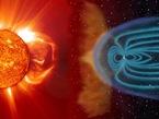 Esta imagen compuesta muestra una imagen de SOHO del Sol y la impresión artística de la magnetosfera de la Tierra.