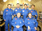 Whole Mars500 crew in portrait, September 2010: (clockwise from top left) Sukhrob Kamolov, Romain Charles, Diego Urbina, Yue Wang, Alexandr Smoleevskiy and Alexey Sitev.