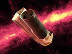 Das Weltraumteleskop Spitzer vor einer Infrarotdarstellung des Nachthimmels (computergenerierte Darstellung). Mit Hilfe von Spitzer haben Forscher jetzt ein neues astronomisches Phänomen entdeckt, den so genannten »Kernschein«.