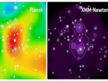 This image shows the newly discovered supercluster of galaxies detected by Planck (with the Sunyaev-Zel'dovich Effect) and XMM-Newton (in X-ray emission). This is the first supercluster to be discovered through its Sunyaev-Zel'dovich Effect.  Combined with other observations, the Sunyaev-Zel'dovich Effect allows astronomers to measure the physical properties of the hot gas (such as temperature and density) in which the galaxies are embedded.  The bright orange blob in the left panel shows the Sunyaev-Zel'dovich image of the supercluster, obtained by Planck. After Planck's detection, follow-up observations were performed with the XMM-Newton observatory in the framework of a Planck source validation programme undertaken in Director's Discretionary Time. The right panel shows the X-ray image of the supercluster obtained with XMM-Newton, which reveals the three galaxy clusters that comprise this supercluster. The X-ray contours are also superimposed on the Planck image, as a visual aid.  The Sunyaev-Zel'dovich signal from the newly discovered supercluster arises from the sum of the signal from the three individual clusters, with a possible additional contribution from an inter-cluster filamentary structure.  The angular separation between the upper cluster and the one in the bottom-right is about 7.5 arc minutes. The small, round contours scattered throughout the field are not related to the supercluster; they are point-like X-ray sources located either in the background or foreground of the supercluster, and are most likely Active Galactic Nuclei.  The X-ray emission shown in the XMM-Newton image corresponds to the energy range between 300 eV and 2000 eV, a temperature range of 3.5 million K to 23 million K, respectively.  The size of the image is about 15 arc minutes.