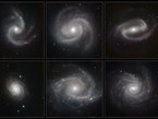 Six galaxies spirales NGC 5247, Messier 100 (NGC 4321), NGC 1300, NGC 4030, NGC 2997 and NGC 1232.