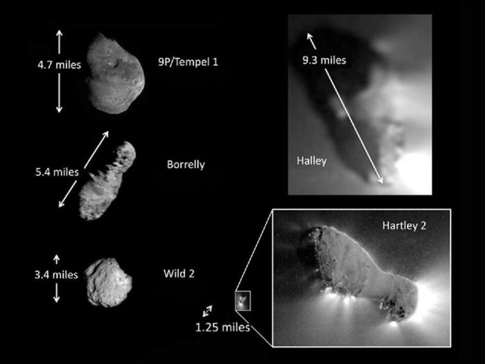 This montage shows the only five comets imaged up close with spacecraft. The comets vary in shape and size. Comet Hartley 2 is by far the smallest and has the most activity in relation to its surface area. This jet activity can be seen extending from the comet's surface and into its outer shell of gas and dust, or coma. This is first time scientists have been able to link jets to the details of the surface.