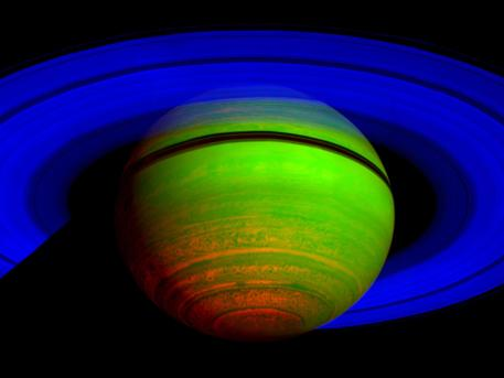 This false-color composite image, constructed from data obtained by NASA's Cassini spacecraft, shows Saturn's rings and southern hemisphere. The composite image was made from 65 individual observations by Cassini's visual and infrared mapping spectrometer in the near-infrared portion of the light spectrum on Nov. 1, 2008. The observations were each six minutes long.