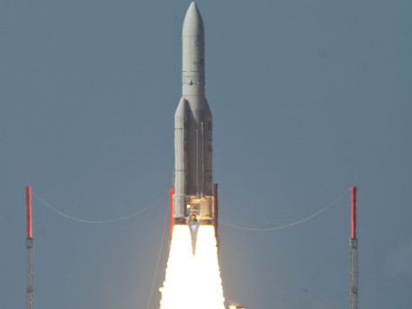 On 26 November 2010, an Ariane 5 launcher lifted off from Europe's Spaceport in French Guiana on its mission to place two telecommunications satellites, Hylas-1 and Intelsat 17, into their planned transfer orbits.  Liftoff of V198, the 54th Ariane 5 flight, came at 19:39 CET (18:39 GMT; 15:39 French Guiana).