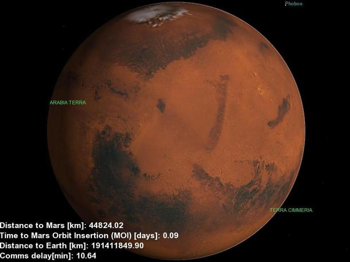 The Mars500 facility has no windows, but a laptop running Celestia, a freeware space simulation software, acts as a virtual window as the crew approached the Red Planet.