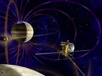 This artist's concept shows NASA's Jupiter Europa Orbiter which will carry a complement of 11 instruments to explore Europa and the Jupiter System. The spacecraft is part of the joint NASA-ESA Europa Jupiter System Mission (EJSM).