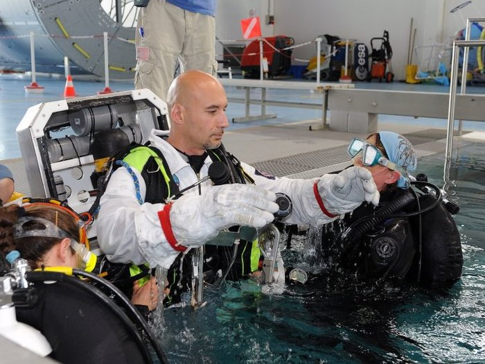 ESA astronaut Luca Parmitano during spacewalk familiarisation training in ESA's Neutral Buoyancy Facility at the European Astronaut Centre in Cologne, Germany.
