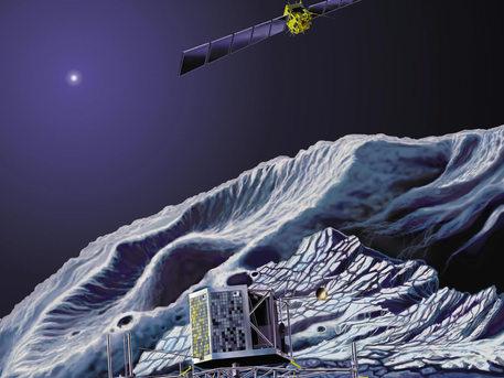 The Rosetta orbiter swoops over the lander soon after touchdown on Comet 67P/Churyumov-Gerasimenko
