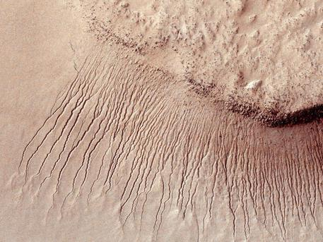 Images like this from the High Resolution Imaging Science Experiment (HiRISE) camera on NASA's Mars Reconnaissance Orbiter show portions of the Martian surface in unprecedented detail. This one shows many channels from 1 meter to 10 meters (approximately 3 feet to 33 feet) wide on a scarp in the Hellas impact basin. On Earth we would call these gullies. Some larger channels on Mars that are sometimes called gullies are big enough to be called ravines on Earth.