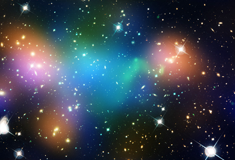 This composite image shows the distribution of dark matter, galaxies, and hot gas in the core of the merging galaxy cluster Abell 520, formed from a violent collision of massive galaxy clusters. (C) NASA