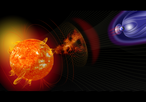 Artist illustration of events on the sun changing the conditions in Near-Earth space. Credit: NASA