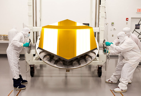 The James Webb Space Telescope's Engineering Design Unit (EDU) primary mirror segment, coated with gold by Quantum Coating Incorporated. Credit: Drew Noel