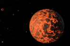 This artist's concept shows what astronomers believe is an alien world just two-thirds the size of Earth -- one of the smallest on record. It was identified by NASA's Spitzer Space Telescope. The exoplanet candidate, known as UCF-1.01, orbits a star called GJ 436, which is located a mere 33 light-years away. UCF-1.01 might be the nearest world to our solar system that is smaller than our home planet. Image credit: NASA/JPL-Caltech