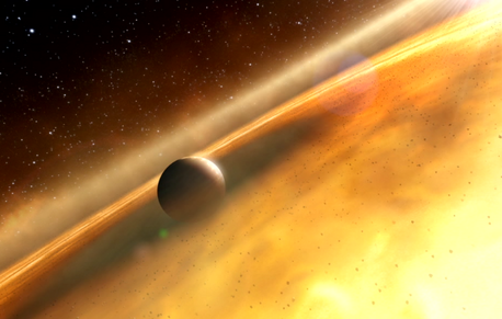 This is an artist's impression of the exoplanet, Fomalhaut b, orbiting its sun, Fomalhaut. (Credit: ESA; Hubble, M. Kornmesser; and ESO, L. Calçada and L. L. Christensen)