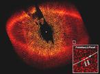 Auf diesem Bild ist Formalhaut b zu erkennen (kl. weißer Kasten). Er ist 100 Millionen Mal lichtschwächer als Formalhaut,  befindet sich innerhalb eines ausgedehnten Staubringes um den Stern und benötigt für einen Umlauf 870 Jahre.