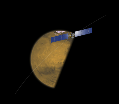 Das Bild zeigt in einer Fotomontage, wie sich die Sonde in der Nacht vom 17. auf 18. Februar 2009 dem Mars nähert und dann auf der Tagseite den Marsäquator überquert. Anschließend wird Dawn über die Südhalbkugel fliegen und sich wieder vom Mars entfernen.