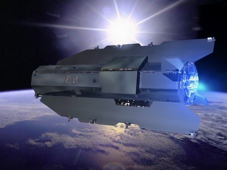 """The GOCE (Gravity field and steady-state ocean circulation explorer) will map the Earth's gravity field and orbit at a """"small"""" distance of 260 kilometers from the surface. So GOCE has a sleek aerodynamic design and is equipped with special ion thrusters."""