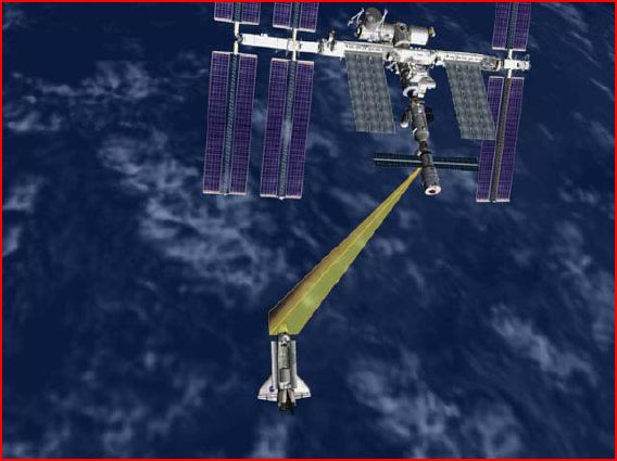 This image illustrates Discovery conducting the Rendezvous Pitch Maneuver before docking to the space station.