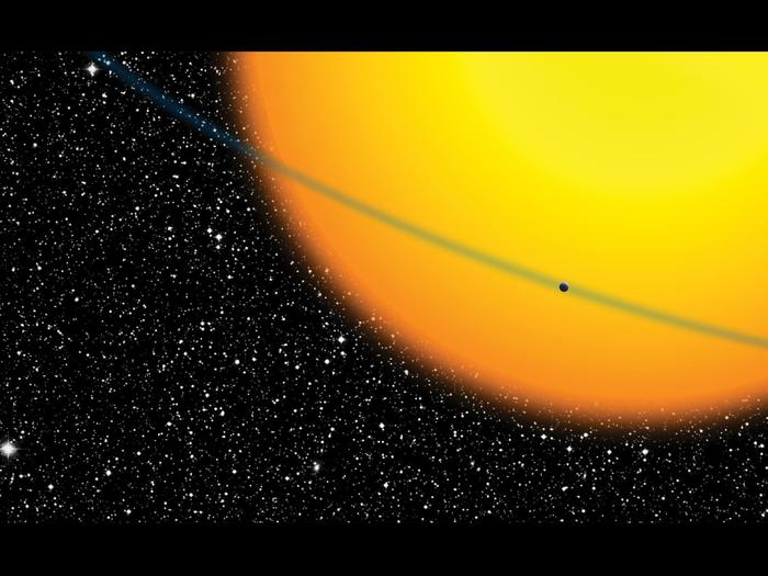 Artist's impression of small planet passing before its sun - a situation that Kepler was built to observe using the transit method.
