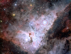 This image of the Carina Nebula shows the position of the Trumpler 14 cluster of stars.